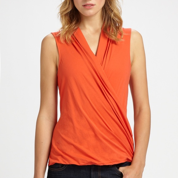 c88ad4914c1 Theory Derona K Crossover V-Neck Top Orange Tank